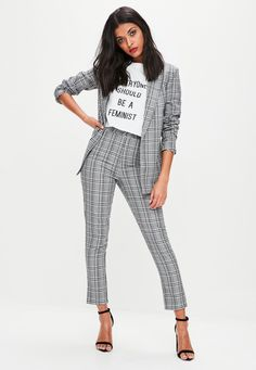 Grey Checked Tailored Cigarette Pants