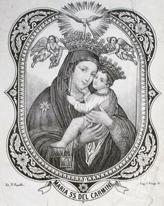 del Carmine A Neapolitan lithograph of the miraculous icon of Our Lady of Mount Carmel, venerated in the Carmelite church in Naples. Divine Mother, Blessed Mother Mary, Blessed Virgin Mary, Religious Icons, Religious Art, Lady Of Mount Carmel, Linear Art, Virgin Mary Statue, Images Of Mary