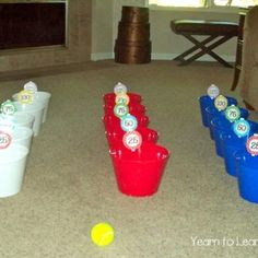Skee Ball Indoor Learning Game  Also you can play indoor bowling or make masking tape shapes and jump from shape to shape practicing their names.