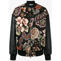 Stella Mccartney Sabina Tapestry Bomber Jacket (€1.370) ❤ liked on Polyvore featuring outerwear, jackets, zip front bomber jacket, floral-print bomber jackets, collarless jacket, pattern jacket and multi coloured jacket