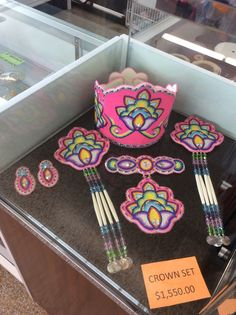 New! Crown set complete with hair ties, choker and earrings design finished in 9/0 tri cut glass beads and neon pink background finished in matte finish 10/0 seed beads. $1,550.00