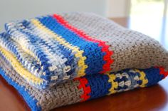 Vintage Hand Crocheted Grey, Blue, Red and Yellow Striped Afghan Throw Blanket - SOLD!