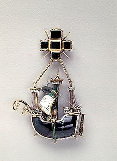 Pendant: Caravel 1580s - 1590s Unknown craftsman Spain Gold, emeralds and enamel; chased, painted and polished 2011 State Hermitage Museum