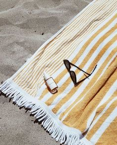 yellow striped fringe beach towel