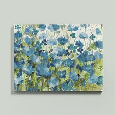 Everything's coming up poppies. French artist, Fabrice de Villeneuve, is at it again, except this time his signature field of poppies is in a vibrant blue.Flower Fields Stretched Canvas features: Fine art giclee reproduction on canvas stretched over wood frameHand embellished with gold flecked highlights for added texture & detail