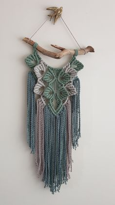Cotton cord and wood. 2 shades of beige and 2 shades of green Ready to ship Macrame Wall Hanging Patterns, Macrame Plant Hangers, Macrame Art, Macrame Design, Macrame Projects, Macrame Knots, Macrame Patterns, Micro Macrame, Macrame Jewelry