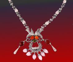Mazahua Sterling Filigree Necklace by Tita Rubli Silver Jewelry - Collar mazahua de filigrana de plata y piedras semipreciosas, de la colección de Tita Rubli Orfebrería Mexicana.