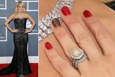 "Carrie Underwood rocks ""Danke-Shiny Red"" with a #LiquidSand ""What Wizardry Is This"" accent nail."
