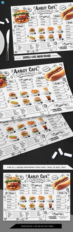 Doodle Cafe Menu Board — Photoshop PSD #elegant #flyer • Available here ➝ https://graphicriver.net/item/doodle-cafe-menu-board/20813314?ref=pxcr