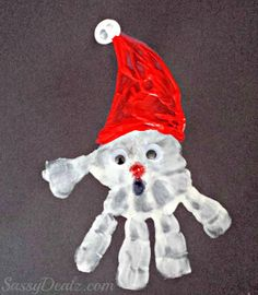 This cute handprint santa project is simple to make and turns out super cute! Just paint the child's hand with white paint and stamp it on a black piece of paper. Paint a red santa hat on top of it and have them dip their pointer finger in white paint to top off that …