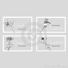 Business card with sketch summer flowers and text on a gray background in a white frame. Iris, lilly, echinacea, eupatorium. Vector illustration.