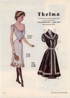 Thelma Paper Doll by Pat Stall - Doll Reader, February-March 1984