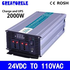 232.75$  Buy now - http://aliqal.worldwells.pw/go.php?t=32768943305 - P2000-241-C 2000w UPS inverter 24vdc to 110vac Pure Sine Wave solar inverter voltage converter with charger and UPS 232.75$