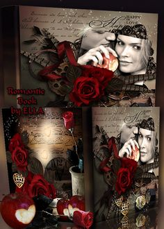 Romantic photo album psd template with red roses