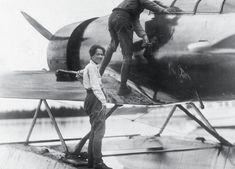 Nearly two years after they married, Anne Morrow Lindbergh and Charles Lindbergh on a pontoon