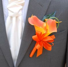 Handmade Bright Orange Double Calla Lily Grooms Wedding Buttonhole