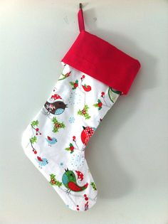 Christmas Stocking for Kids with beautiful Bird by LaLaLaDesigns