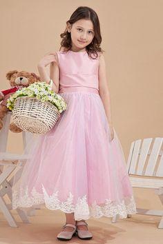 20fa59d7b62 Abito da Cerimonia Bambini Naturale Principessa decorato in Raso in Satin  Elastico Party Dresses 2014