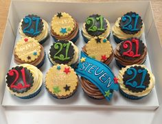 21st birthday cupcakes black yellow blue green red 21st Birthday Cupcakes, Boy Birthday, Cap Cake, Cake Toppers, Blue Green, Yellow, Party, Desserts, Food
