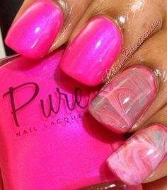 #PinkWednesday and Dry Marble #nailart using @PureNailLacquer polishes