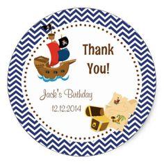 Pirate Boy Birthday Stickers