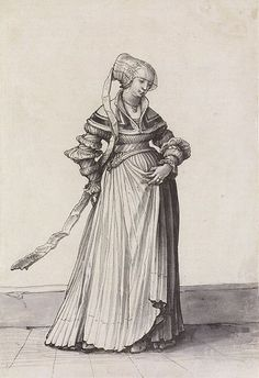 Basel Woman Turned to the Right, Costume Study by Hans Holbein the Younger, 1523