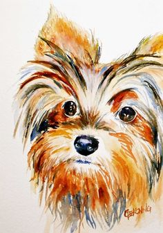 Yorkie ACEO dog painting giclee reproduction by christydekoning, $5.00