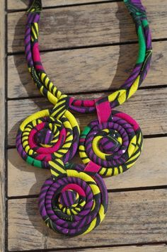 Pretty African fabric chain WAX – Pretty African fabric chain WAX Ideal for the summer, bright colors Solid necklace with push button by jlbivins