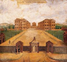 """The Foundling Hospital nr Holborn London c.1760. -- Posted by @SirWilliamD on Twitter 7.14.16: """"The Foundling Hospital nr Holborn London c.1760. There was a hanging basket in front for depositing unwanted babies."""""""