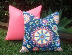 Boho Outdoor Cushions. Outdoor Pillow Pink Outdoor Suede and Navy Blue Boho Outdoor Cushion Covers, Glamour Outdoor Cushions,  Pillows