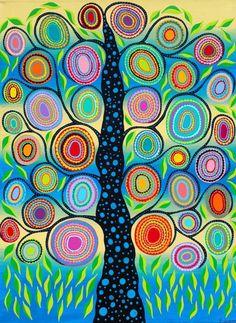 Original Mexican Folk Art Tree of Life Flowers Leaves Blue Kerri Ambrosino #Surrealism