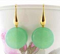 Green Jade Earrings With Drop Earhooks Silver 925 By Sofiasbijoux 28 00