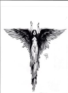 Another person gave this tiny fuzzy picture of an Angel and wanted it blown up a. - Another person gave this tiny fuzzy picture of an Angel and wanted it blown up and drawn cleaner fo - Design Tattoo, Tribal Tattoo Designs, Tribal Tattoos, Celtic Tattoos, Kunst Tattoos, Body Art Tattoos, Sleeve Tattoos, Belly Tattoos, Wing Tattoos