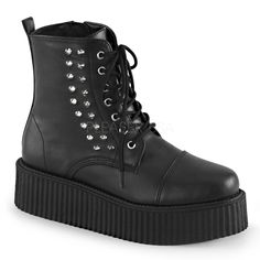 """2"""" Platform Lace-Up Front Creeper Ankle Boot with Spikes at Outer Side, Inside Zip Closure Size Run: Men's 4-13"""