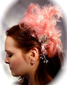 Mauve Feather Hairpiece Hair Comb OOAK by Marcellefinery on Etsy, $32.00