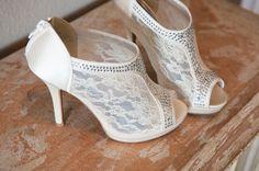 Ivory bridal shoe idea - peep-toe lace + rhinestone high heels {J Hodges Photography}