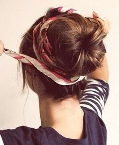 Wrapping a scarf around a sock bun. My Bestie just did the sock bun to my hair and it was very cute so yay! My Hairstyle, Pretty Hairstyles, Summer Hairstyles, Hairstyle Ideas, Quick Hairstyles, Scarf Hairstyles, Braided Hairstyles, Latest Hairstyles, Country Girl Hairstyles