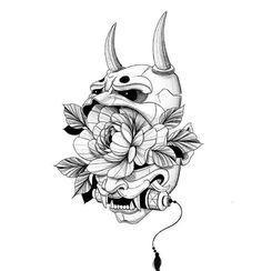 Samurai Mask Tattoo, Oni Mask Tattoo, Hanya Tattoo, Black Ink Tattoos, Body Art Tattoos, Sleeve Tattoos, Japanese Mask Tattoo, Japanese Tattoo Designs, Japanese Tattoos