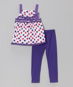 Love this Purple Polka Dot Babydoll Tunic & Leggings - Infant & Toddler by Diva on #zulily! #zulilyfinds