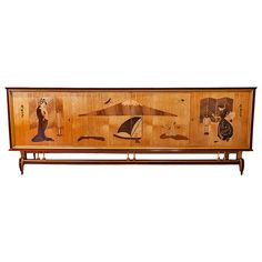 Italian Mid-Century Sideboard with Beautiful Asian Scene | From a unique collection of antique and modern sideboards at https://www.1stdibs.com/furniture/storage-case-pieces/sideboards/