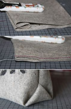 Origami corners on bags - it's that easy! The most beautiful thing is something .- Origamiecken bei Taschen- das geht so einfach! Am schönsten wird das aus etwas … Origami corners on bags – it's that easy! Sewing Hacks, Sewing Tutorials, Sewing Patterns, Techniques Couture, Sewing Techniques, Fabric Crafts, Sewing Crafts, Sewing Diy, Diy Couture