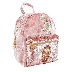 On trend in color and size, the blush pink Crushed Velvet with Magic Sequin Mini Backpack by Fashion Angels features a sweet embroidered bulldog puppy that screams perfection. The matching magic sequin accessory pocket flips from rose pink to rose gold Fashion Angels, Everyday Bag, Bulldog Puppies, Mini Backpack, Crushed Velvet, Girl Stuff, Pink Roses, Blush Pink, Fashion Backpack