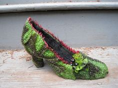 botanical shoe covered with begonia leaves and accented with nicandra pod, dill, Françoise Weeks