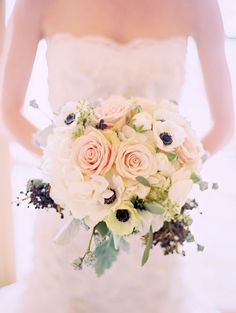 Wedding bouquet looks gorgeous in photos, complement your wedding dress and enhance the overall décor of your ceremony. Here are a few wedding bouquet ideas to inspire-and awe. Mod Wedding, Floral Wedding, Wedding Colors, Wedding Bouquets, Anemone Wedding, Wedding Dresses, Green Wedding, Rustic Wedding, Anemone Bouquet