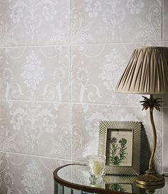 Laura Ashley Josette tiles by House of British Ceramic Tile http://www.britishceramictile.com/product/la51690-laura-ashley-josette-white-decor-part-a-298mm-x-498mm/
