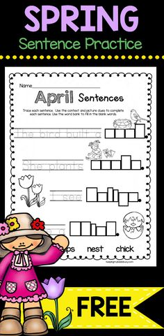 Spring Sentence Writing Practice! A fun way for kids to work on reading, writing and letter formation with kindergarten and first grade kids! #freewritingprintables #teachingwriting