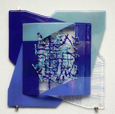 Glaskunst aan de muur: 'Blue wonder', 55 x 55 x 6 cm #glaskunst #design #kunst #glasfusing #glassart #wall art #fused glass