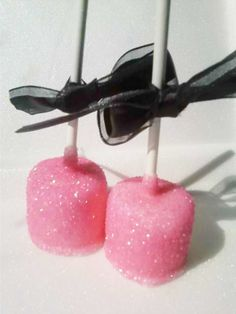 Glitz Pink Marshmallow Pops Do them in white or silver glitter