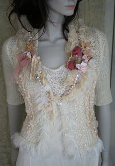cherry blossoms in the snow-  shabby chic romantic feminine jacket with vintage and antique  laces and vintage beads