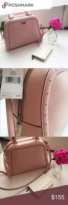 """NWT Kate Spade Rocki Helena Street Posy Pink Nwts Kate Spade Rocki Helena Street Rose Pink Leather Satchel  Sleek leather satchel in pink Accented around outer edges in gold tone studs Gold tone logo plate on front Flat bottom  Dual rolled leather handles with 4"""" drop Removable, adjustable shoulder strap with 23"""" drop Zip around style closure  Interior: Fully lined in Kate Spade custom fabric 2 slip pockets,1 zip pocket.  Retails with Taxes around $400 kate spade Bags Crossbody Bags"""